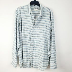 Lucky Brand Mens Button Front Shirt Blue White XL